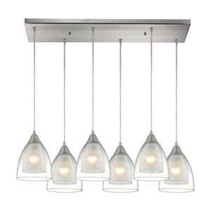 Layers Satin Nickel Six-Light Pendant with Clear Glass