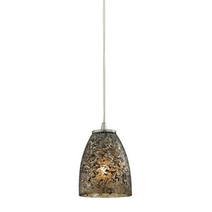 Fissure Satin Nickel One-Light Mini Pendant with Smoke Glass
