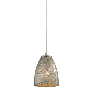 Fissure Satin Nickel One-Light Mini Pendant with Silver Glass