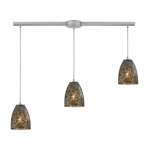 Fissure Satin Nickel Three-Light Ascending Pendant with Smoke Glass