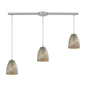 Fissure Satin Nickel Three-Light Ascending Pendant with Silver Glass