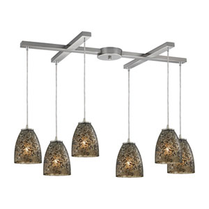 Fissure Satin Nickel Six-Light Pendant with H Canopy and Smoke Glass