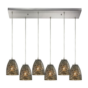 Fissure Satin Nickel Six-Light Pendant with Smoke Glass