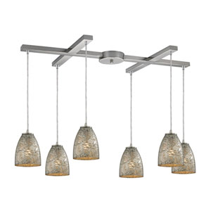 Fissure Satin Nickel Six-Light Pendant with H Canopy and Silver Glass
