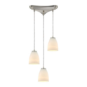 Sandstorm Satin Nickel Three-Light Pendant with Frosted Glass