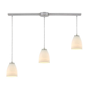 Sandstorm Satin Nickel Three-Light Linear Pendant with Frosted Glass