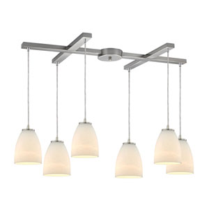 Sandstorm Satin Nickel Six-Light Pendant with H Canopy and Frosted Glass
