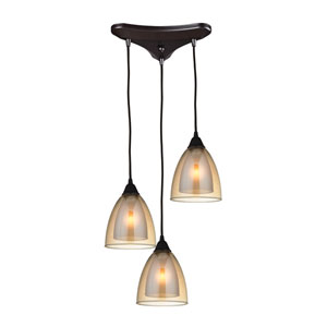Layers Oil Rubbed Bronze Three-Light Pendant with Amber Teak Glass