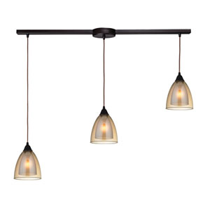 Layers Oil Rubbed Bronze Three-Light Linear Pendant with Amber Teak Glass