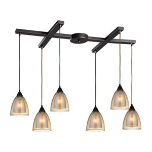 Layers Oil Rubbed Bronze Six-Light Pendant with H Canopy and Amber Teak Glass