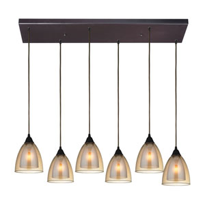 Layers Oil Rubbed Bronze Six-Light Pendant with Amber Teak Glass