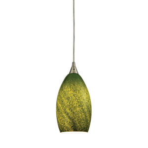 Earth Satin Nickel 5-Inch One-Light Mini Pendant with Sunlit Grass Green Glass Shade