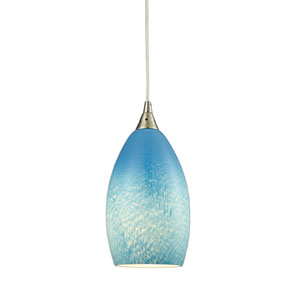 Earth Satin Nickel 5-Inch One-Light Mini Pendant with Whispy Cloud Sky Blue Glass Shade