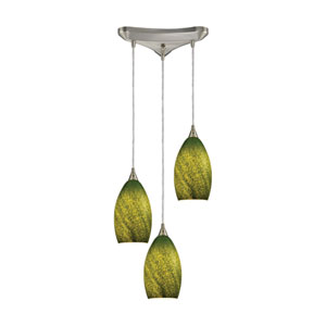 Earth Satin Nickel 11-Inch Three-Light Pendant with Sunlit Grass Green Glass Shades