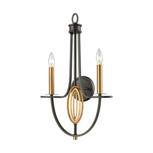 Dione Oil Rubbed Bronze and Brushed Antique Brass Two-Light Wall Sconce