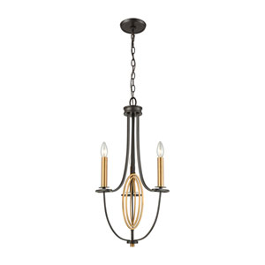 Dione Oil Rubbed Bronze and Brushed Antique Brass Three-Light Chandelier