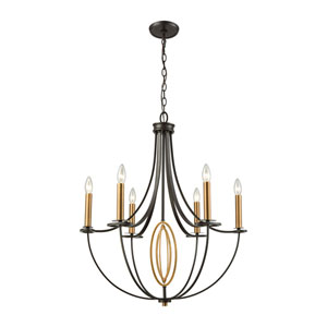 Dione Oil Rubbed Bronze and Brushed Antique Brass Six-Light Chandelier