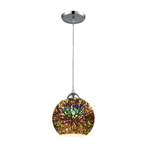 Illusions Polished Chrome One-Light Mini Pendant with 3-D Starbust Glass