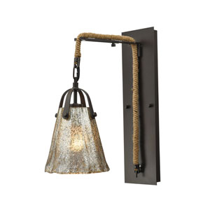 Hand Formed Glass Oil Rubbed Bronze 7-Inch One-Light Wall Sconce
