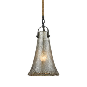 Hand Formed Glass Oil Rubbed Bronze 8-Inch One-Light Mini Pendant
