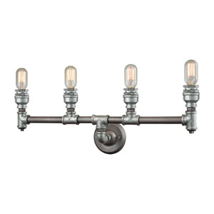 Cast Iron Pipe Weathered Zinc and Zinc Plating 28-Inch Four-Light Vanity