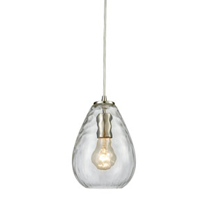 Lagoon Satin Nickel One-Light Mini Pendant with Clear Water Glass