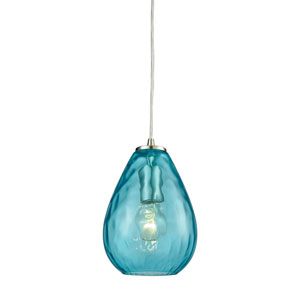 Lagoon Satin Nickel One-Light Mini Pendant with Aqua Water Glass