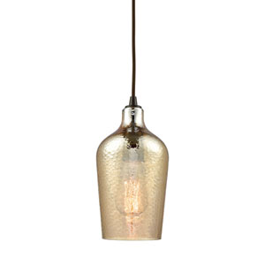 Hammered Glass Oil Rubbed Bronze One-Light Mini Pendant with Hammered Amber Plated Glass
