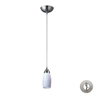 Milan One Light Pendant In Satin Nickel And Simply White Glass Includes w/ An Adapter Kit