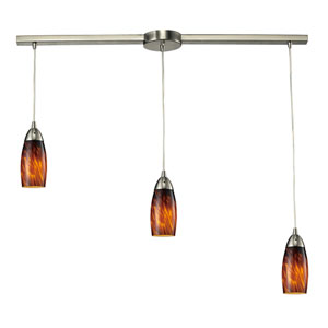 Milan Satin Nickel Three-Light Mini Pendant with Espresso Glass