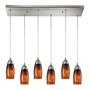 Milan Satin Nickel 30-Inch Six Light Pendant