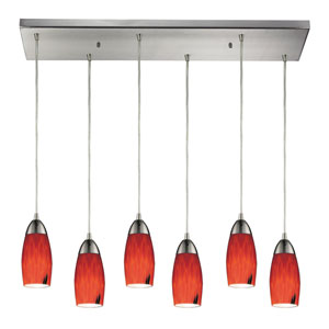 Milan Satin Nickel Six Light Pendant