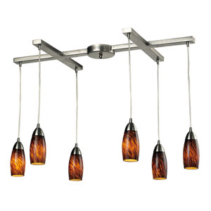Milan Satin Nickel Six-Light Mini Pendant with Espresso Glass