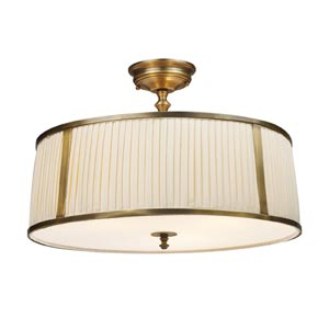 Williamsport Vintage Brass Patina Semi-Flush Ceiling Light