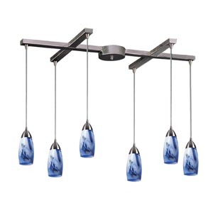 Milan Satin Nickel Six-Light Mini Pendant with Mountain Glass