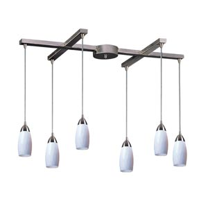 Milan Satin Nickel Six-Light Mini Pendant with Simply White Glass