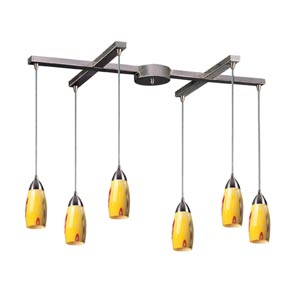 Milan Satin Nickel Six-Light Mini Pendant with Yellow Blaze Glass