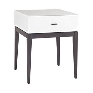 Wright White Glass One-Drawer Side Table