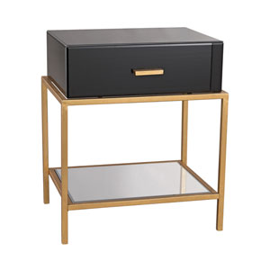 Evans Black Glass One-Drawer Side Table