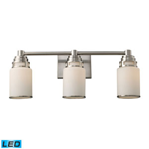 Bryant Three Light LED Bath Fixture In Satin Nickel