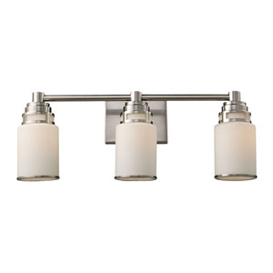 Bryant Satin Nickel Three-Light Bath Light