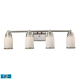 Bryant Four Light LED Bath Fixture In Satin Nickel