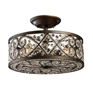 Amherst Antique Bronze Four-Light Semi-Flush