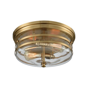 Port O Connor Satin Brass Two-Light Flush Mount