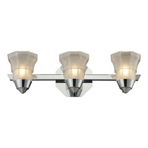 Deco Three Light Bath Fixture In Polished Chrome