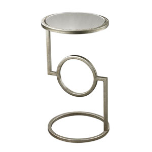 Mirrored Top Antique Silver Side Table