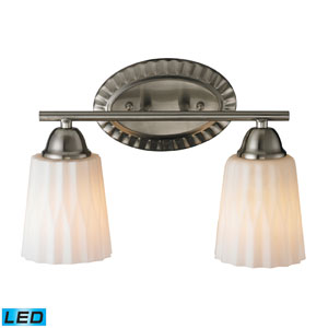 Waverly Two Light LED Bath Fixture In Brushed Nickel