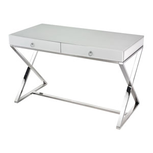 White Glass Two-Drawer Desk
