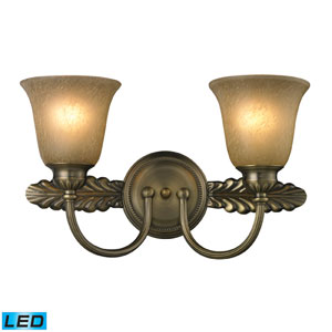 Ventura Two Light Bath Fixture In Antique Brass