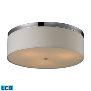 Three Light LED Flushmount In Polished Chrome